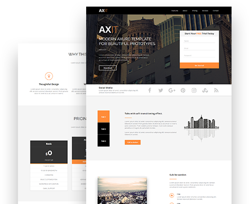 Axit Adaptive Views Landing Page Axure Template