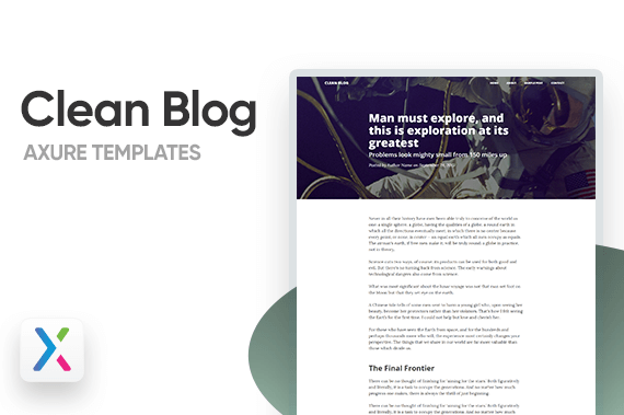 Clean Blog Axure Templates