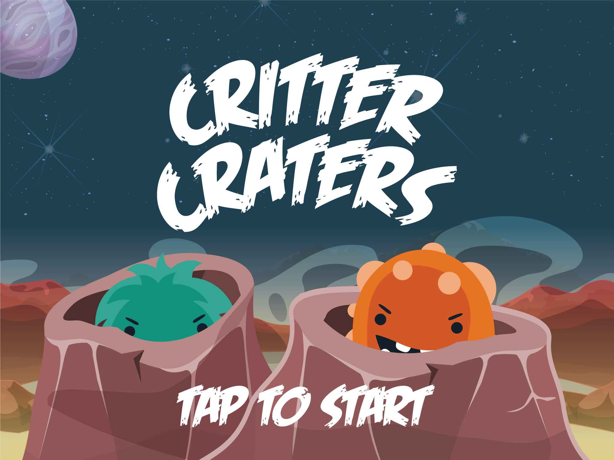 Title screen for iPad educational game Critter Craters.