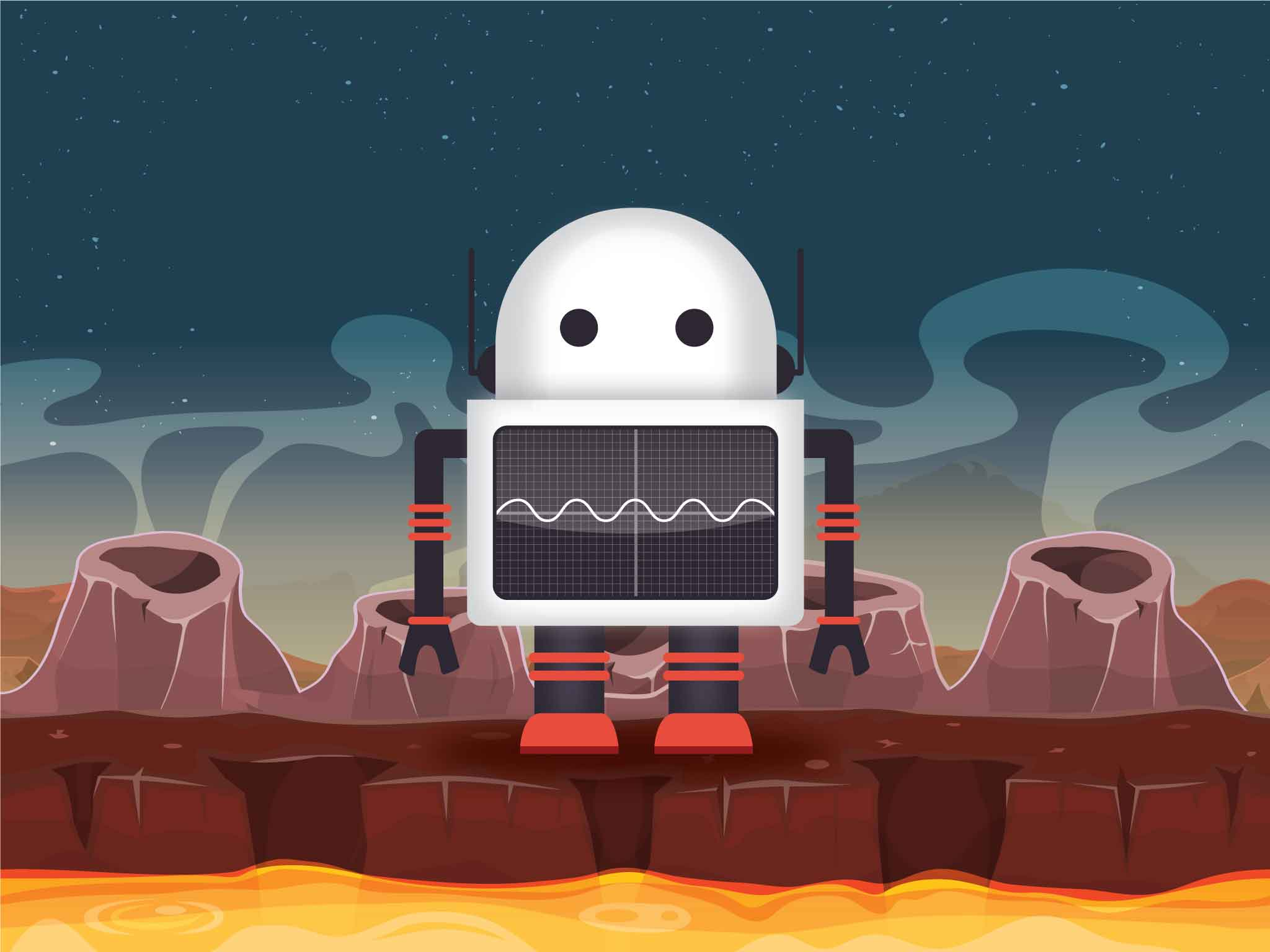 Screen 2: A cute robot is stranded on a volcanic planet.