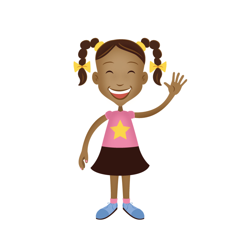 Illustration of an African American girl.