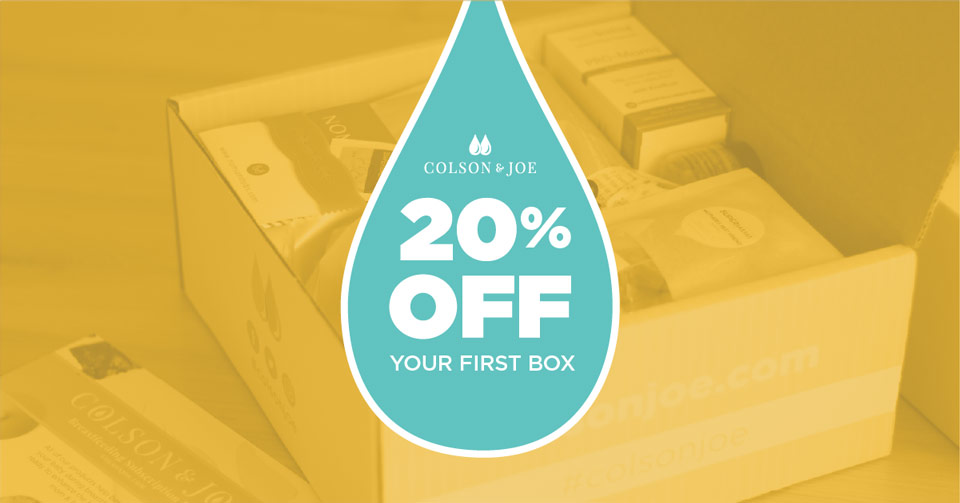 Colson & Joe social media post: 20% off your first box