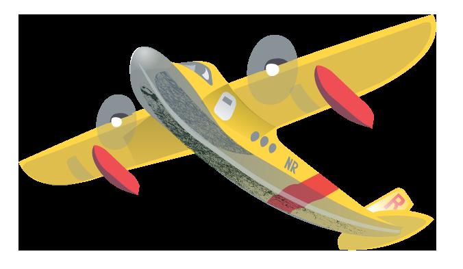 a seaplane takes off on adventure