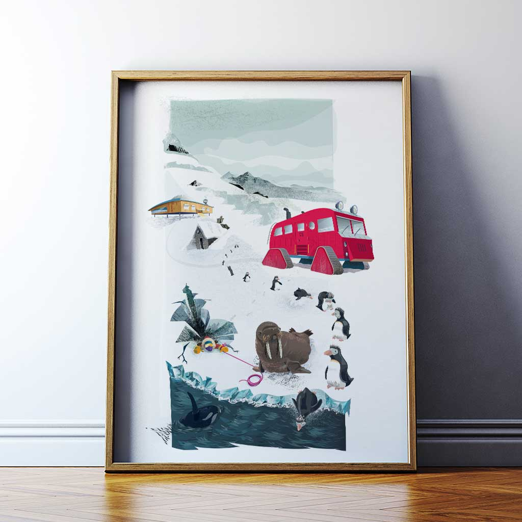 printed and framed - antarctic art for children