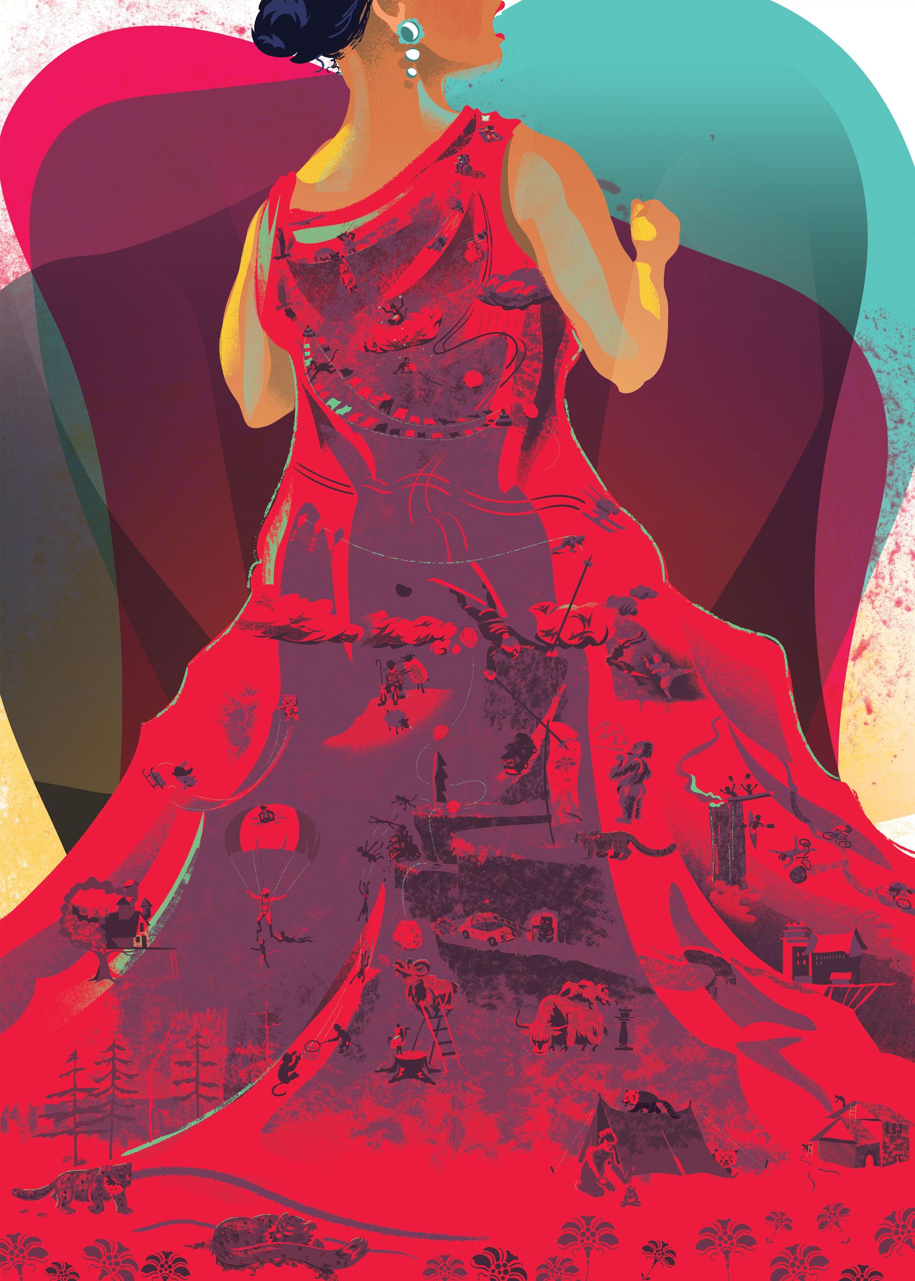 Detailed dress worn by an opera singer
