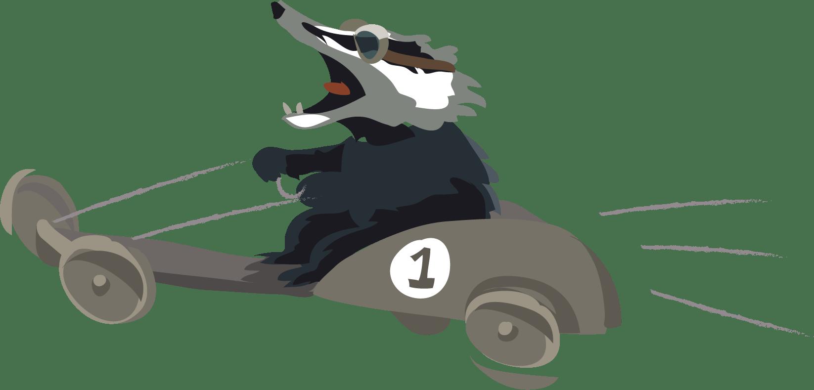 a badger drives a go kart