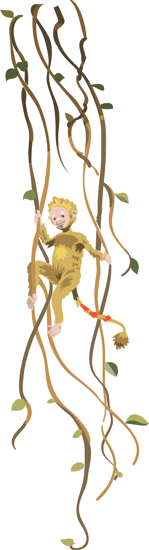 a monkey in the jungle vines