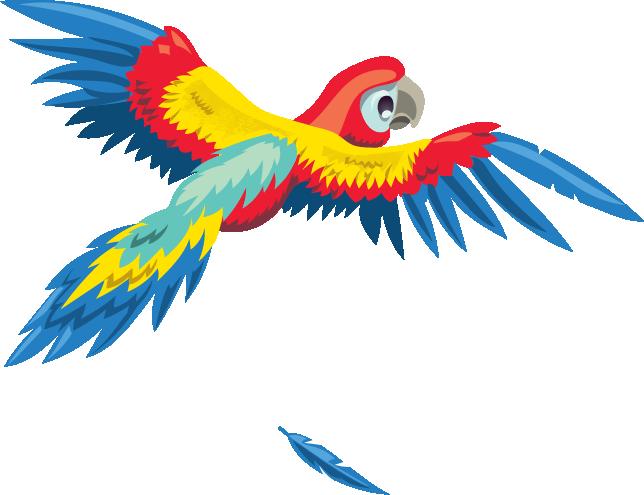 a parrot flies through the jungle