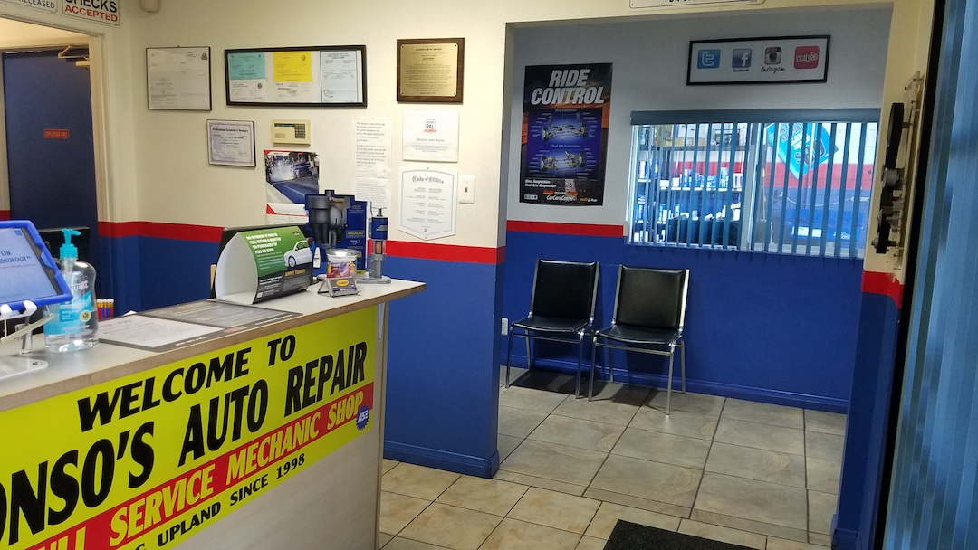 interior waiting room and lobby of alonso's auto repair