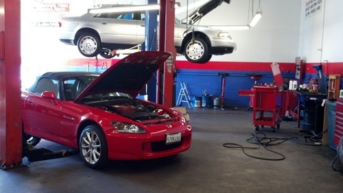 honda s2000 being serviced in alonsos auto repair