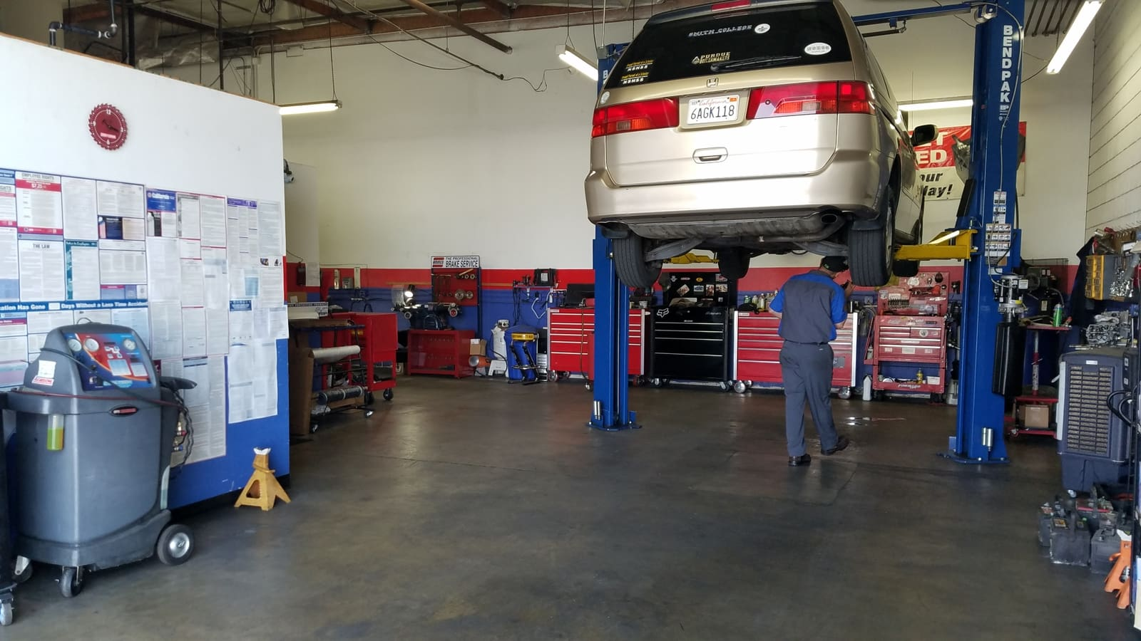 honda odyssey being serviced in alonso's auto repair