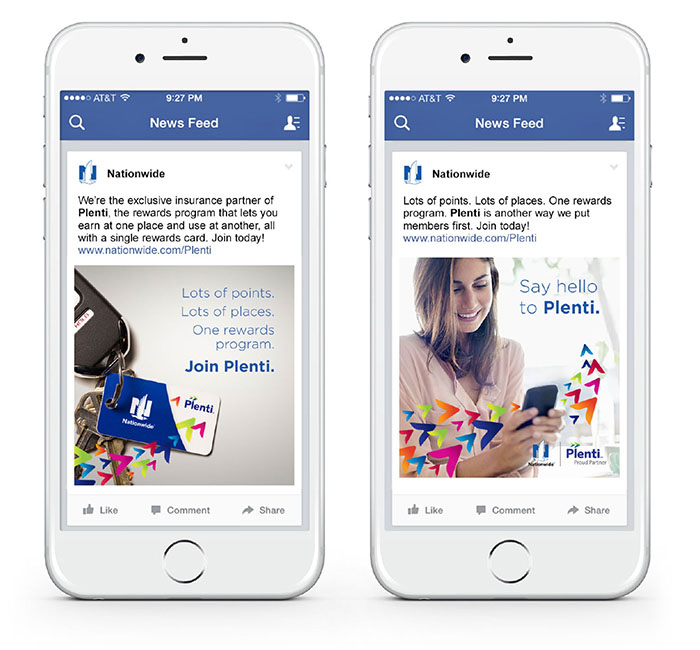 Mobile view of Facebook social cards