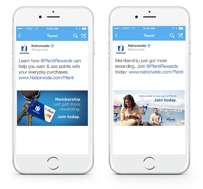 Mobile view of Twitter social cards