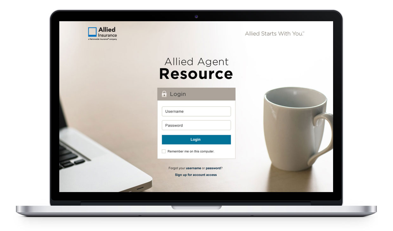Desktop image of Allied Agent Resource login page