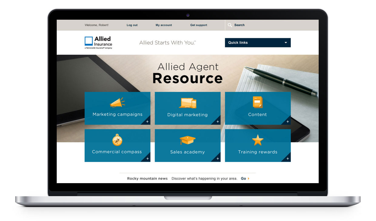 Desktop image of Allied Agent Resource home page