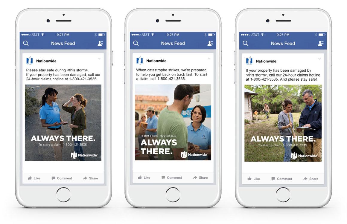 Mobile views of 3 Facebook social cards
