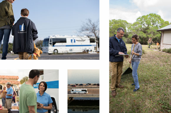 Various images of Nationwide agents providing relief to members