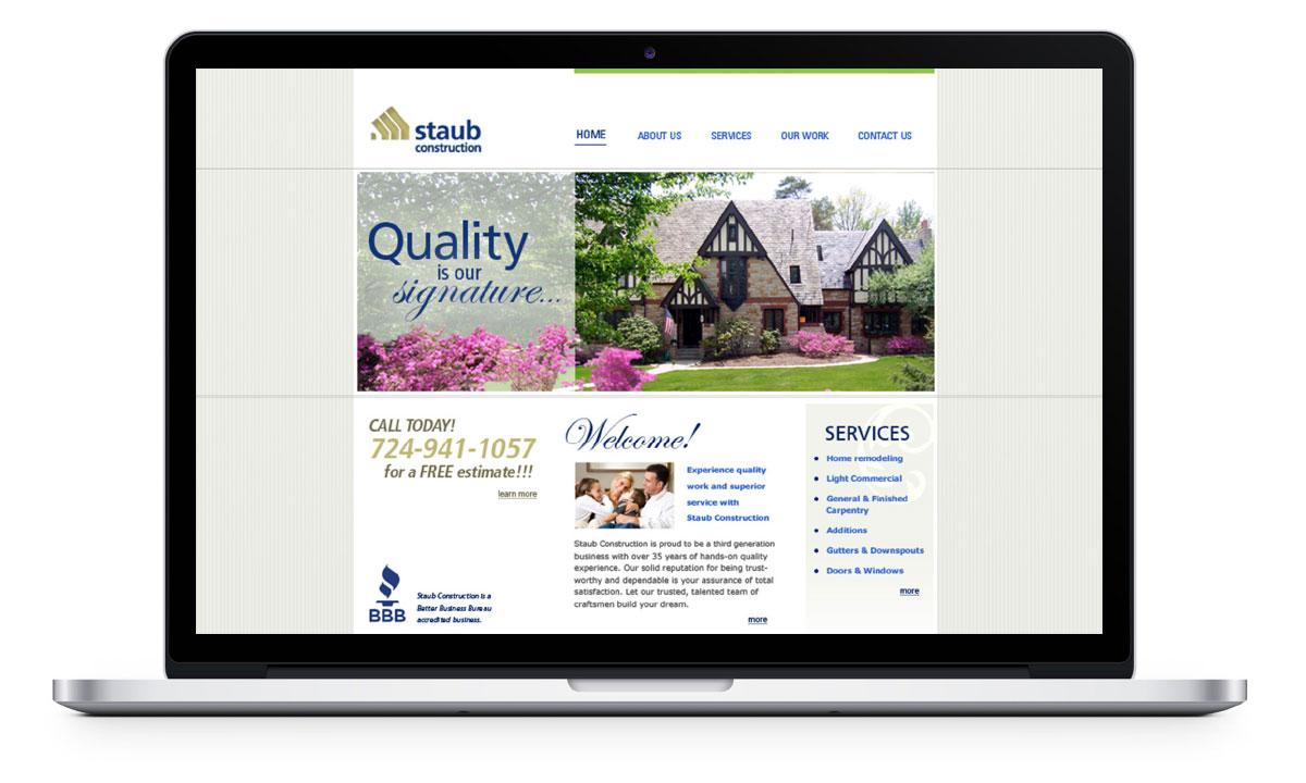 Desktop view of website home page