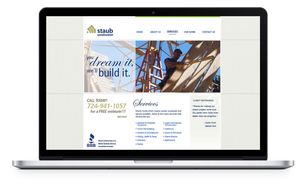 Desktop view of website services page