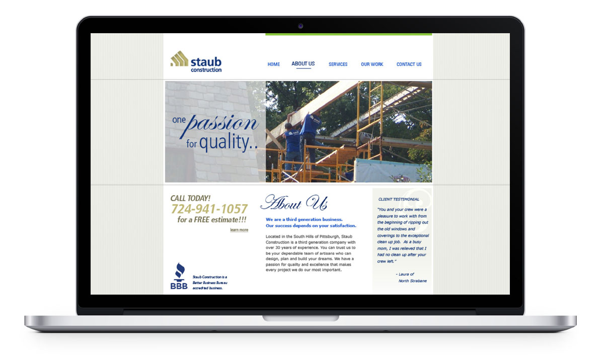 Desktop view of website about us page
