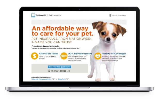Pet insurance landing page