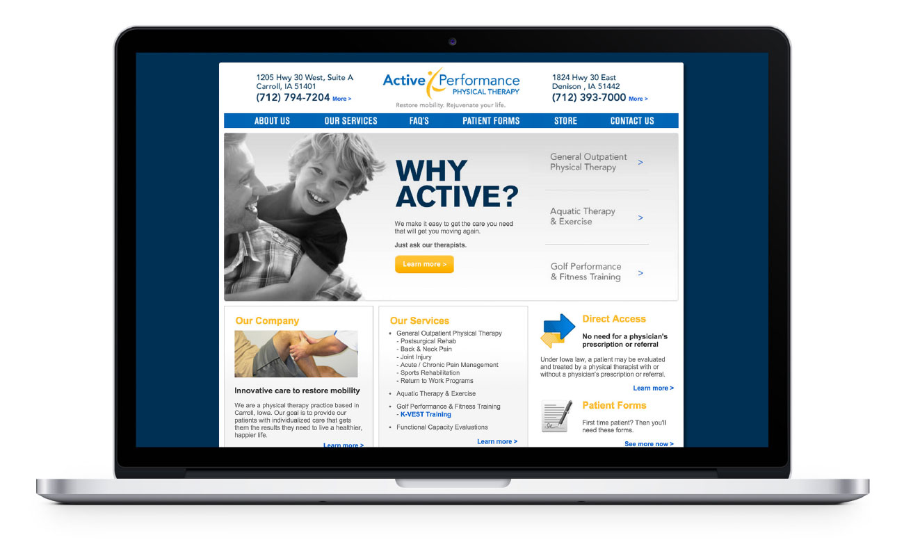 Active performance home page