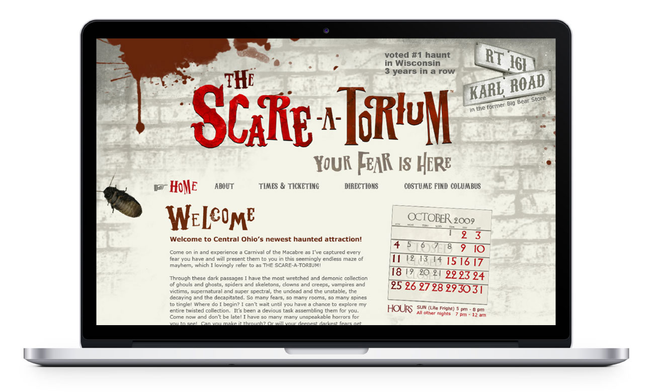 Scareatorium home page