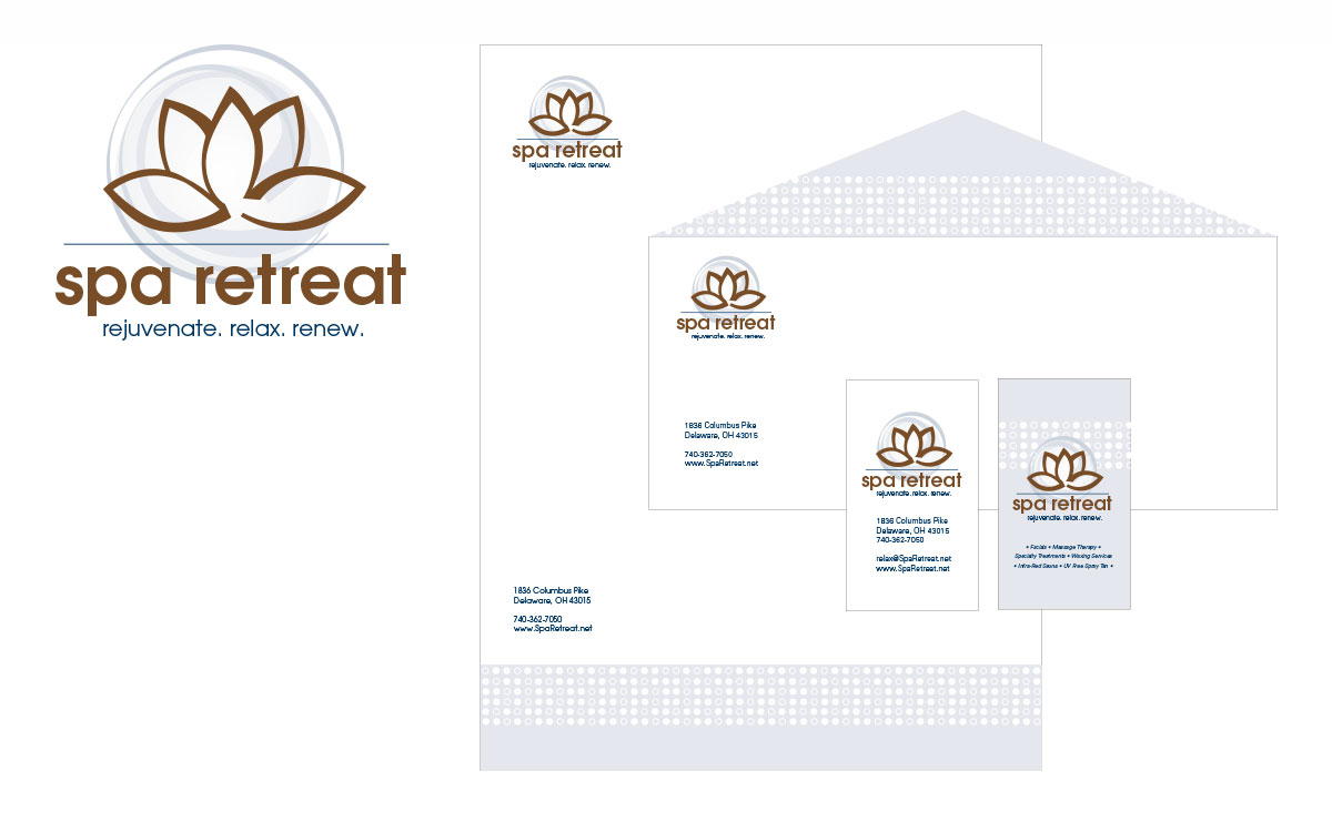 Spa Retreat logo and stationery