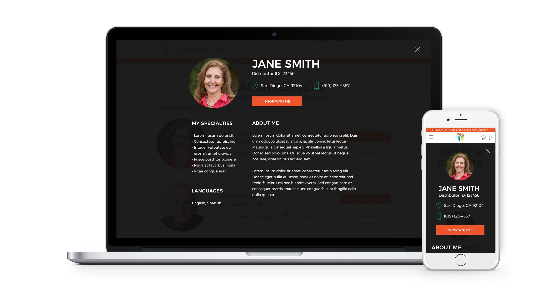 Desktop and mobile views of a distributor profile
