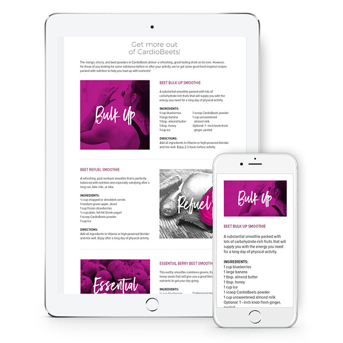 Cardiobeets landing page mobile view 2