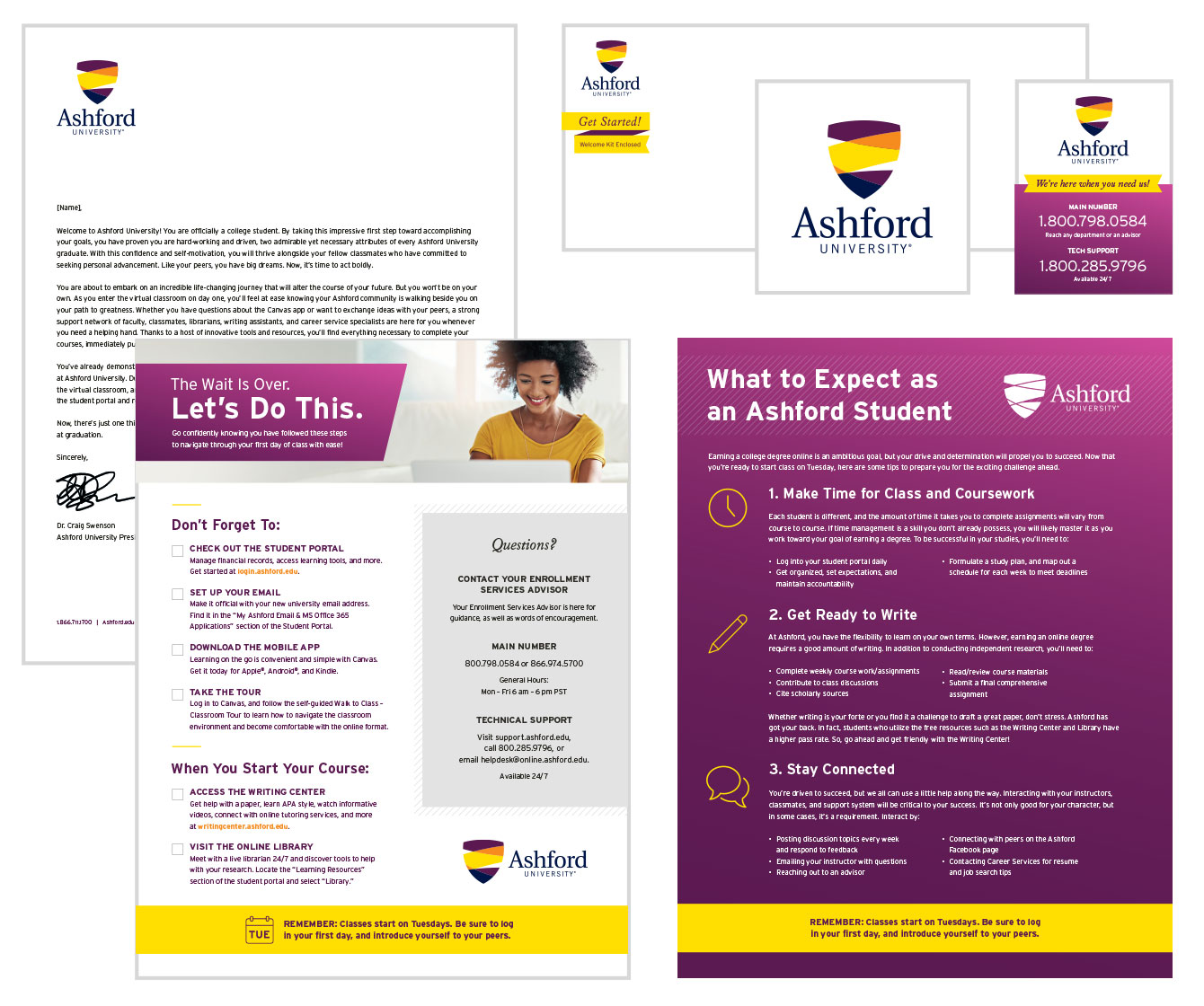 Welcome mailer featuring letter, checklist, decal and magnet