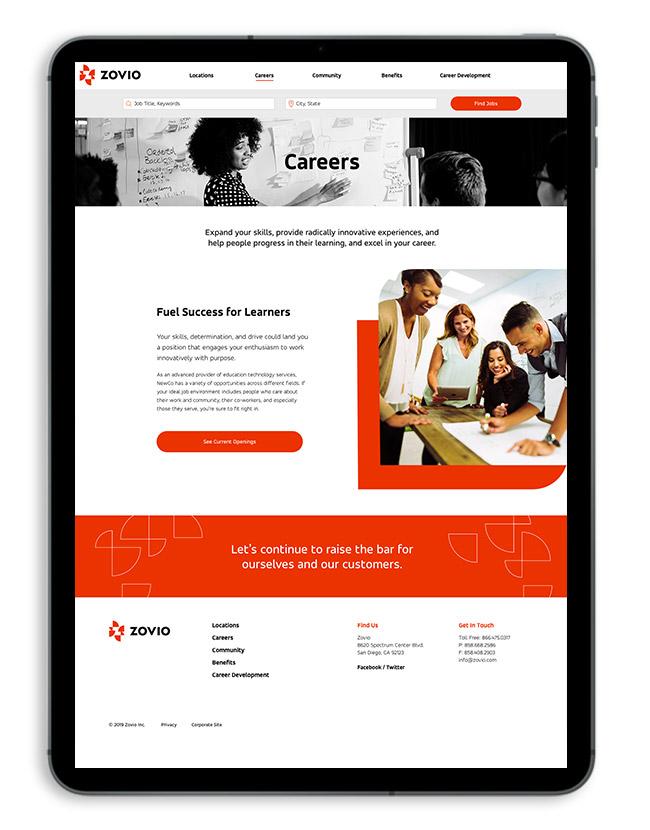 Zovio careers page