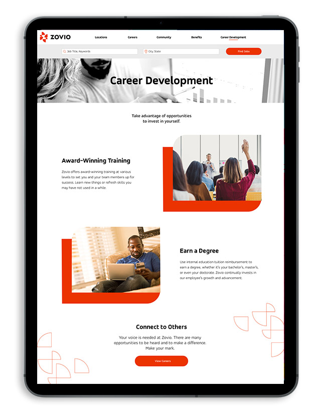 Zovio career development page
