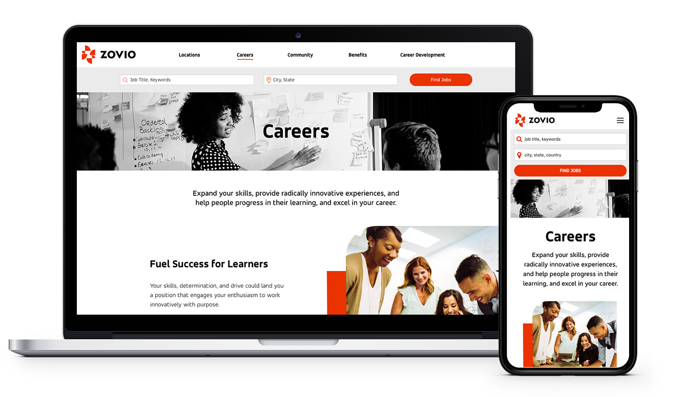 Zovio careers website on a laptop and iPhone