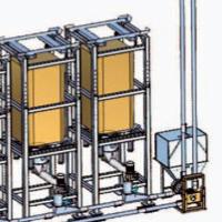 Suursäkkien tyhjennysasemien jälkeinen L-muotoinen aeromekaaninen putkikolakuljetin