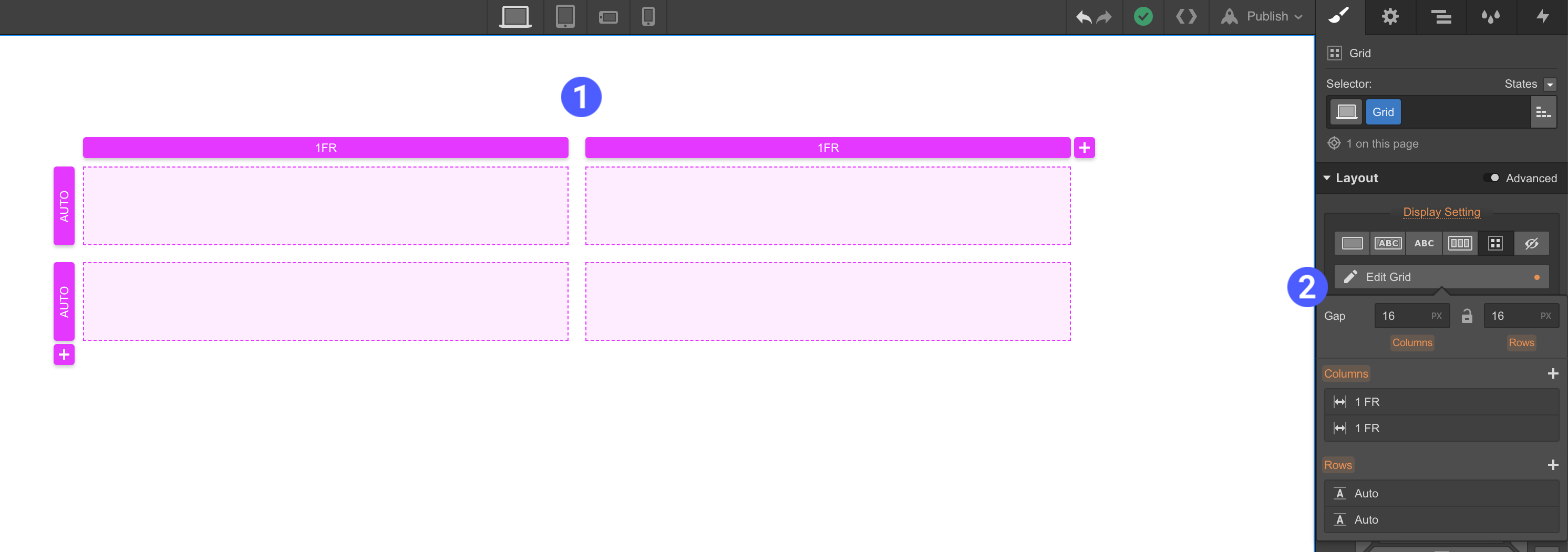 grid container webflow university