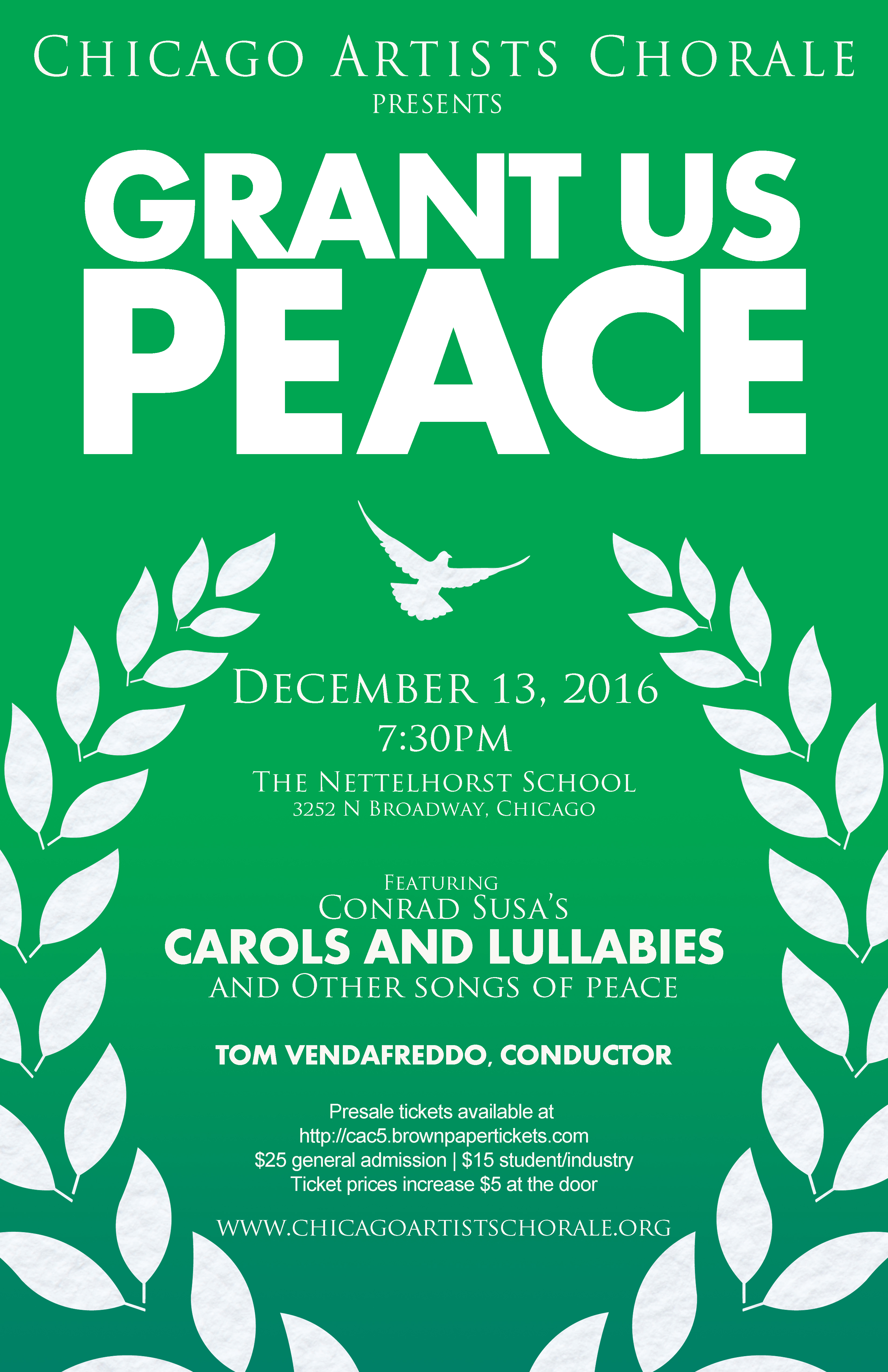 Concert poster with green background and featuring a white laurel wreath and dove.