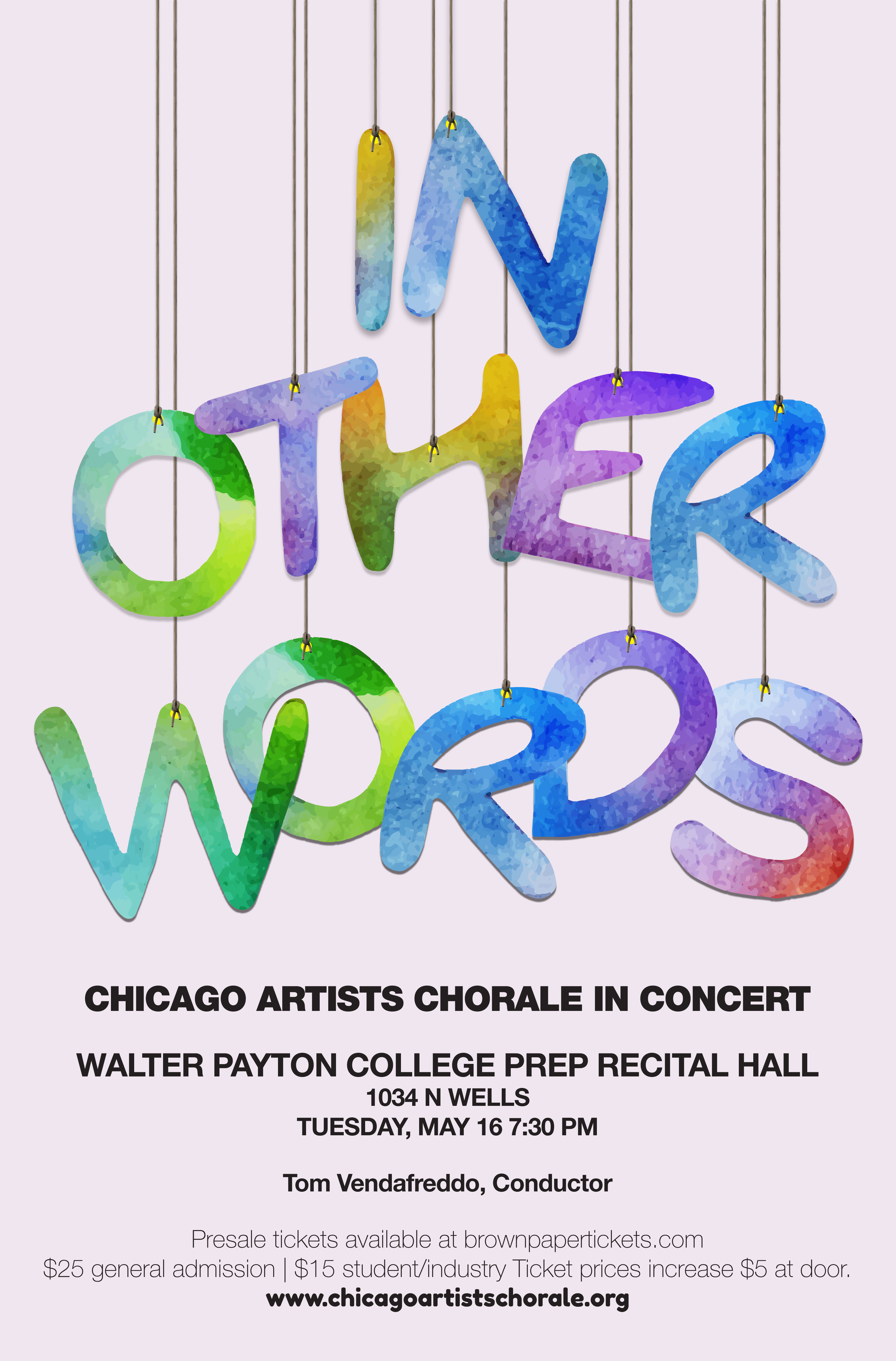 "Concert poster featuring colored letters hanging from strings spelling out ""In Other Words."""