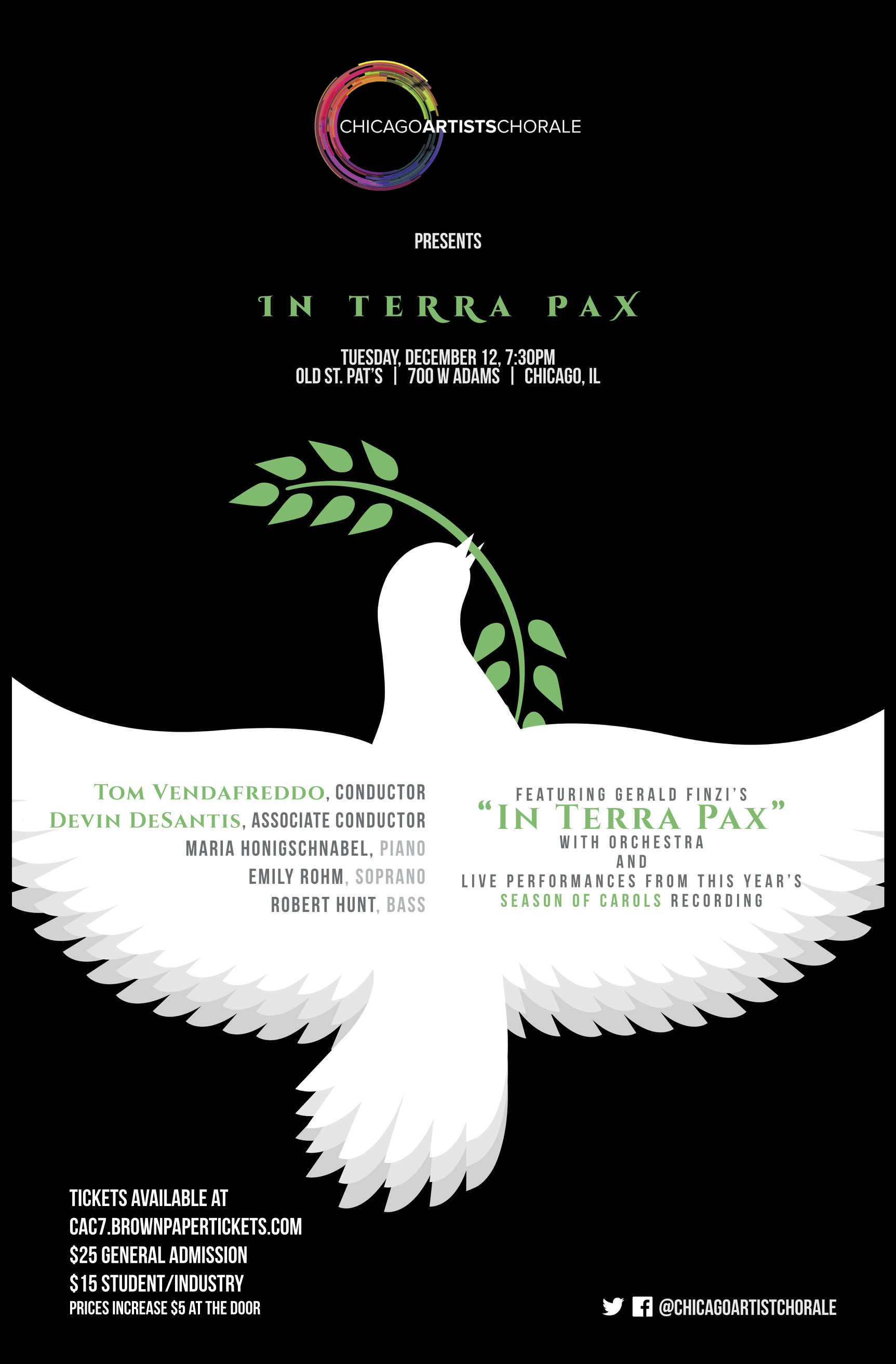 Concert poster featuring a black background with a white dove with its wings spread.