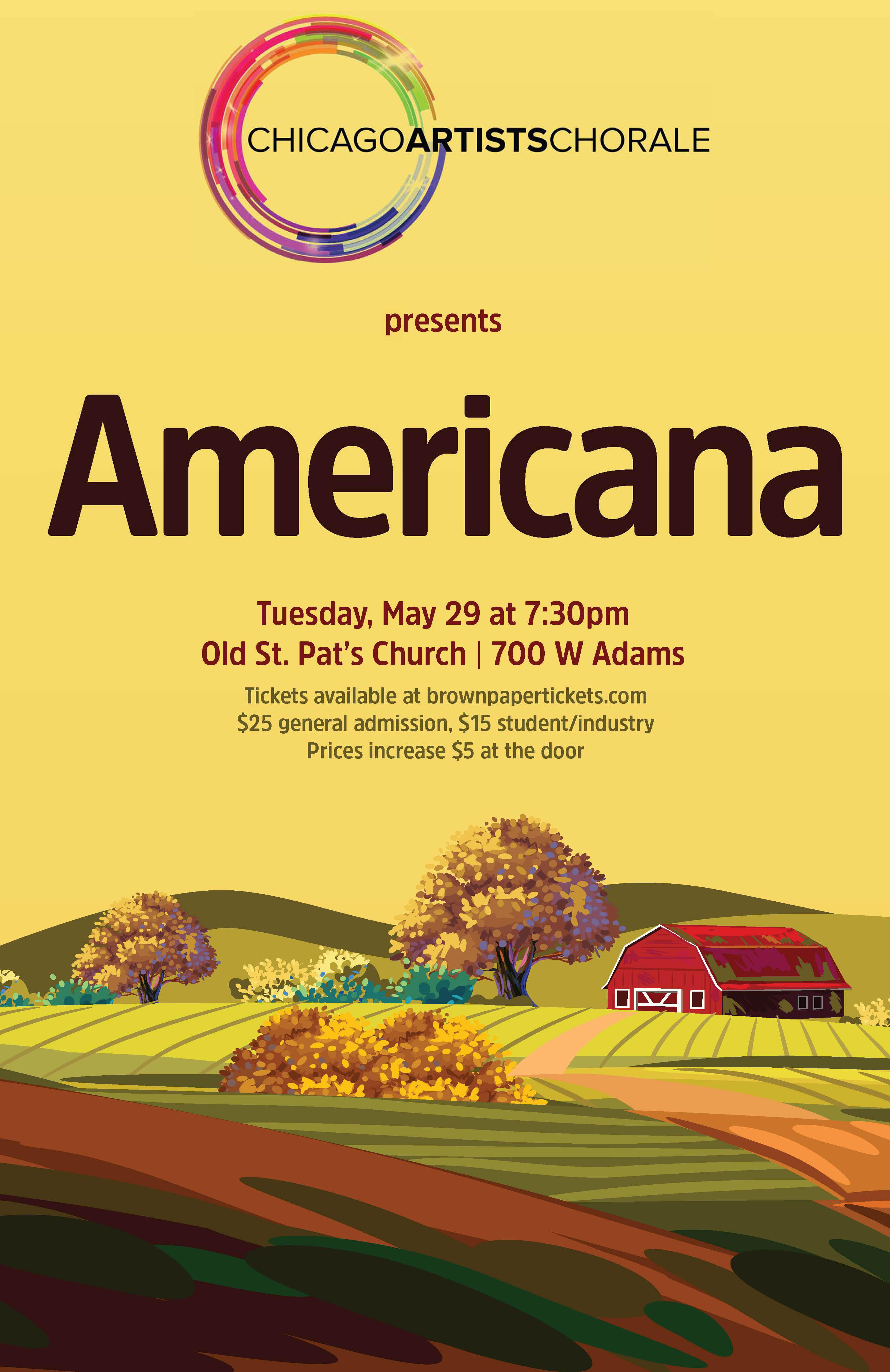 Concert poster featuring a Midwest scene of farmland with a red barn.