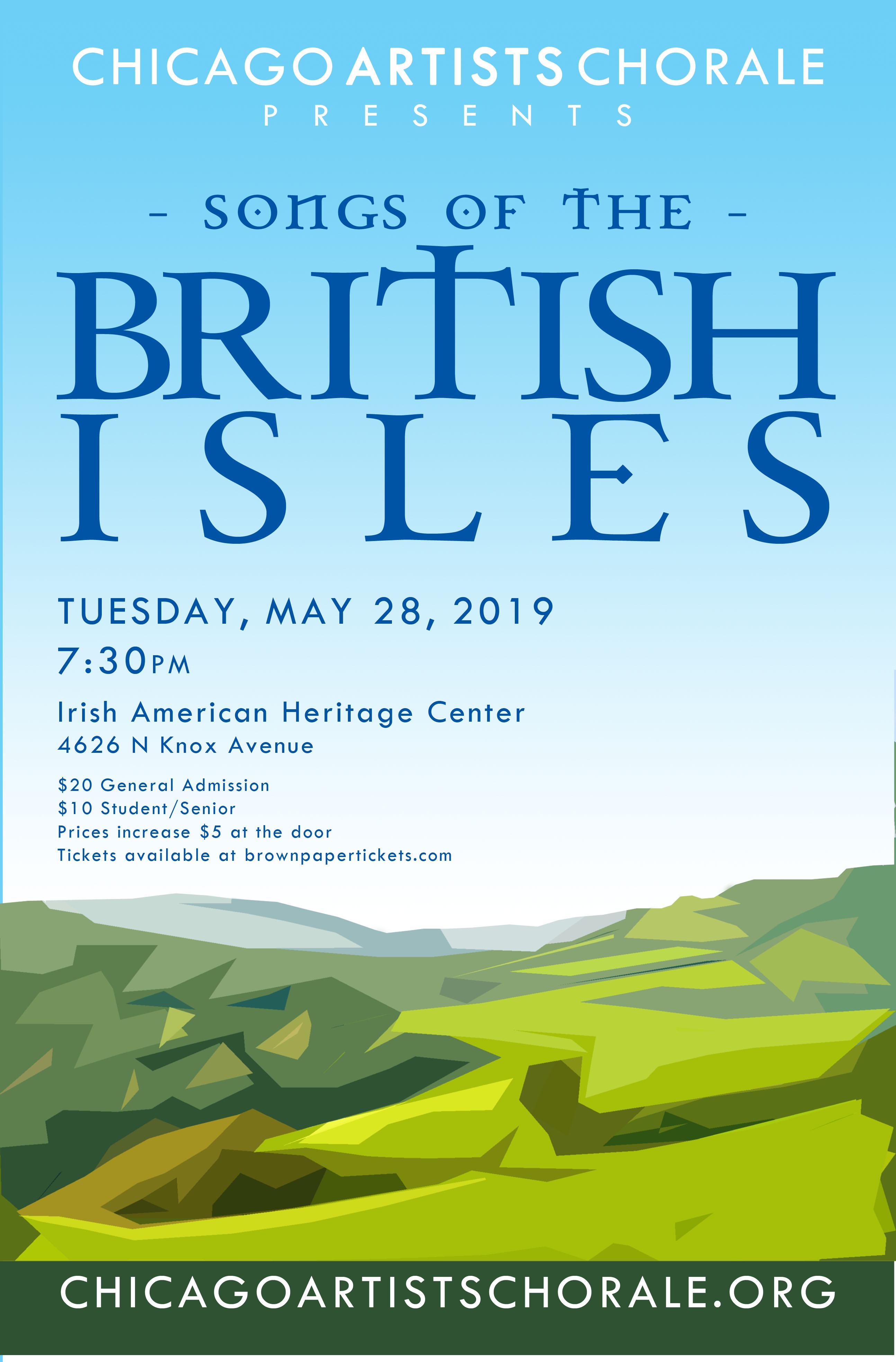 Concert poster - featuring artwork of nondescript green lands under a blue sky.