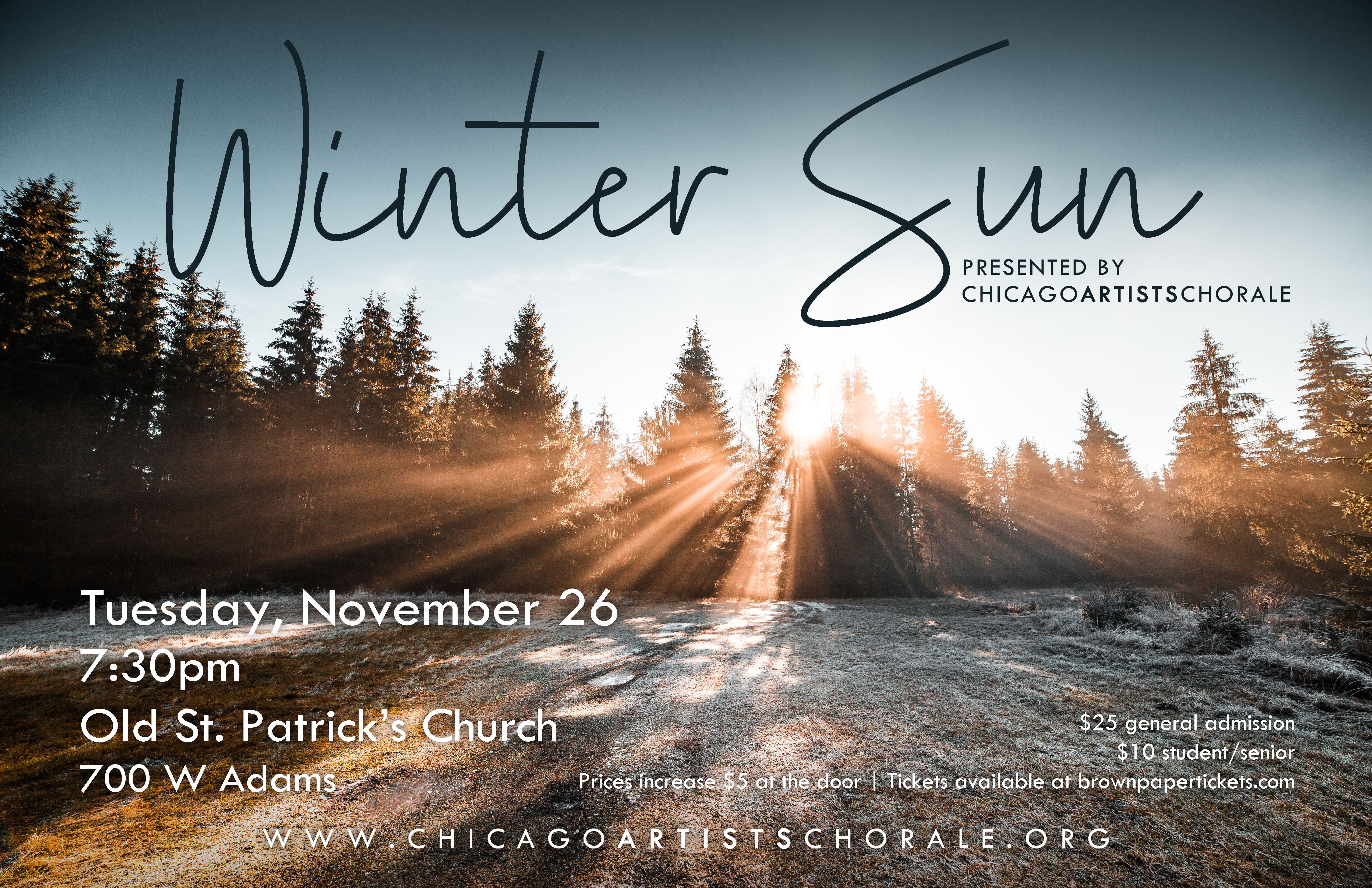 Concert poster featuring a photograph of sunlight shining from the sky through a row of evergreen trees illuminating a grassy area covered in a light snow.