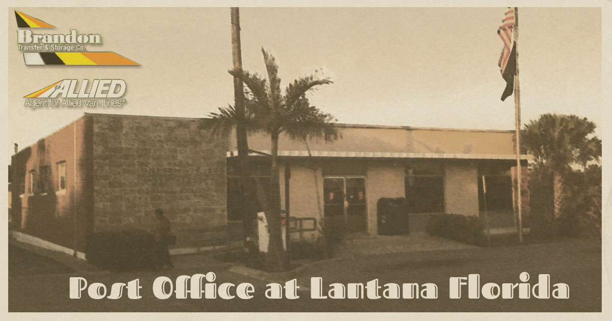 post office at Lantana FL vintage postcard from Allied Van Lines