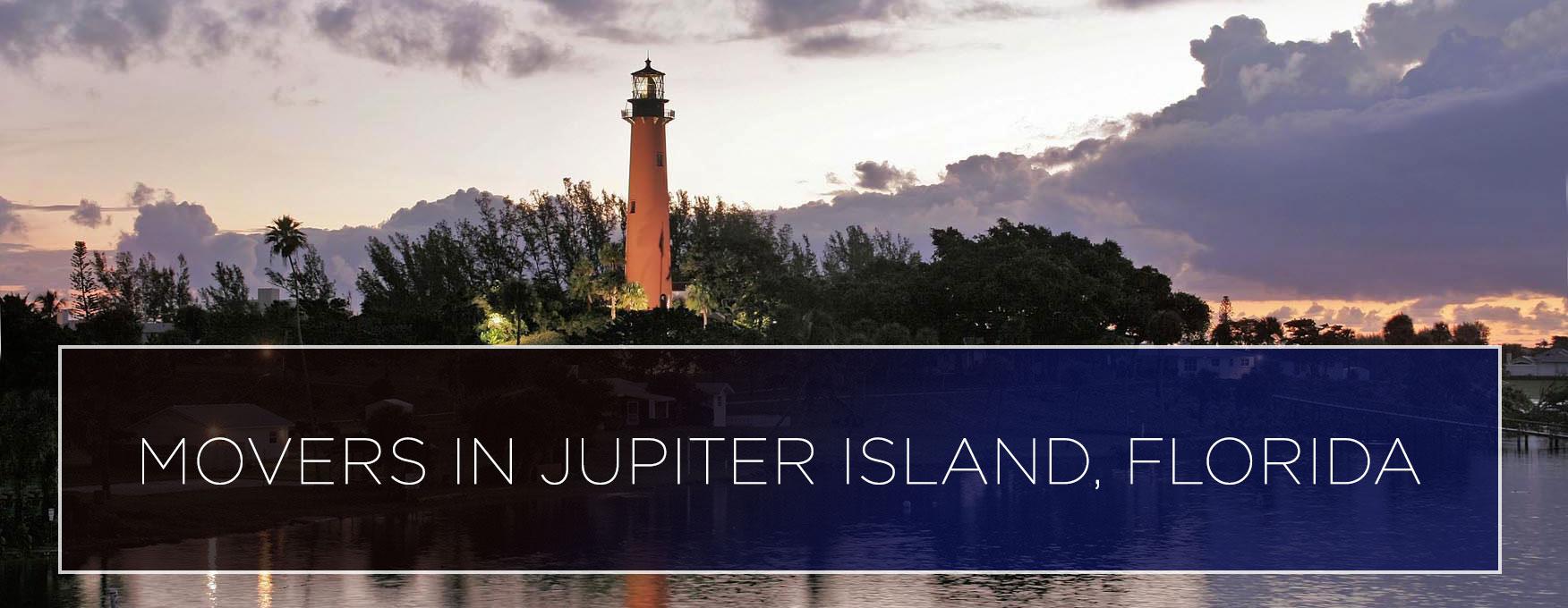 jupiter lighthouse with movers in jupiter island, florida caption