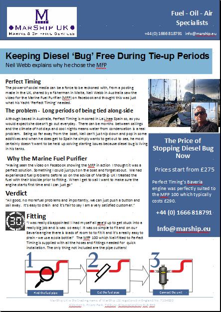 Keeping engines diesel bug free during tie-up