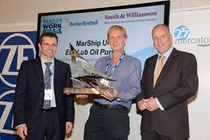 receiving Seaworks Spirit of Innovation Award for the EDI Lube Oil Purifier