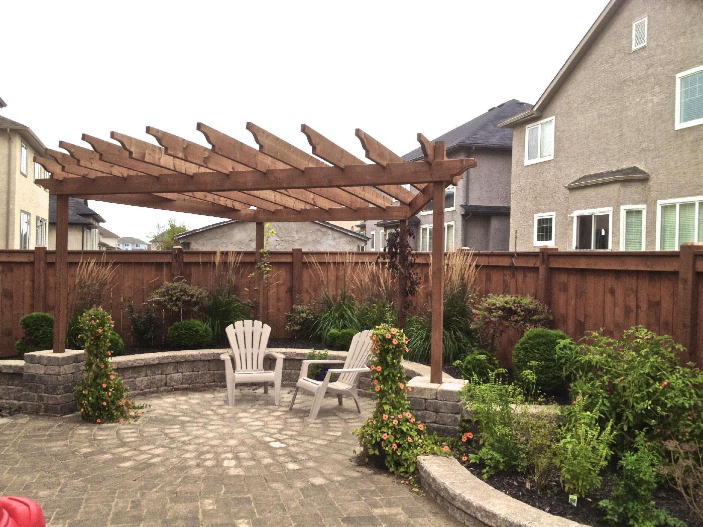 outdoor Pergola and patio winnipeg landscape contractor