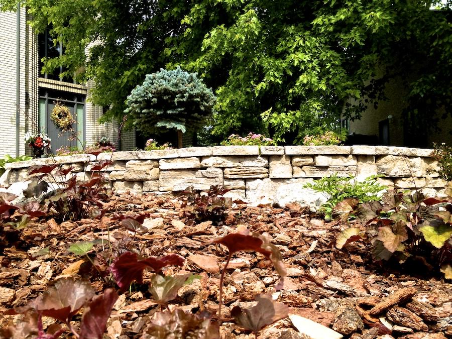 Landscaping featuring bark mulch in Winnipeg
