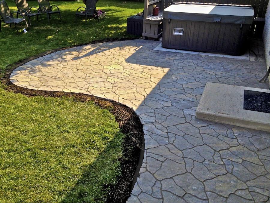 Backyard landscaping with barkman flagstone patio