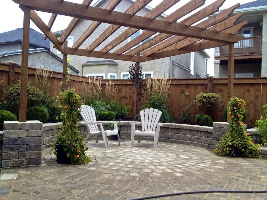 Landscaping with roman stack retaining wall Winnipeg